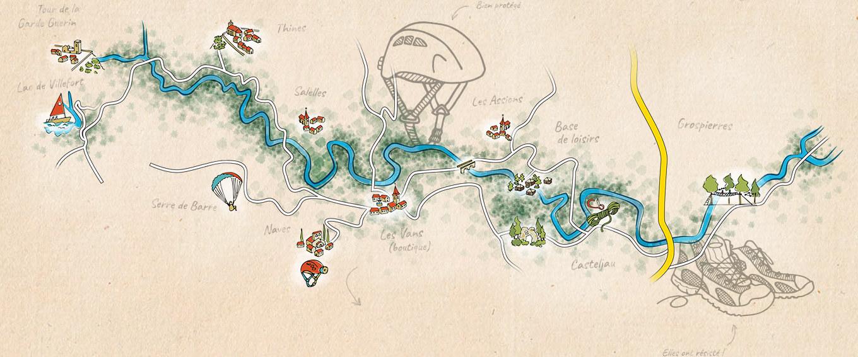 Carte Des Activits Cano Canyoning Splllogie Parcours Aventure Escalade